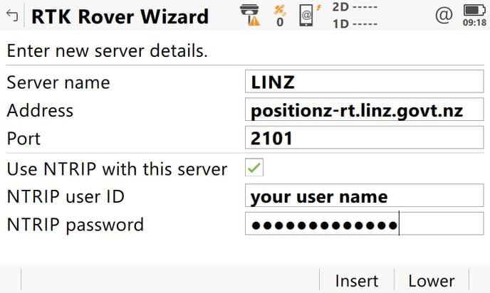 RTK Rover Wizard_Create new server