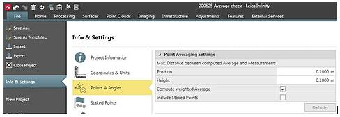 Using Point Averaging inside Leica Captivate and Infinity 5