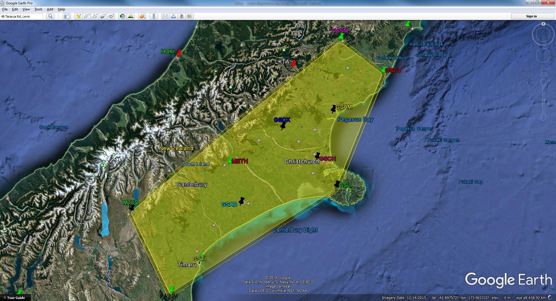GPS Glonass Fixed Cells - Christchurch Region - Map