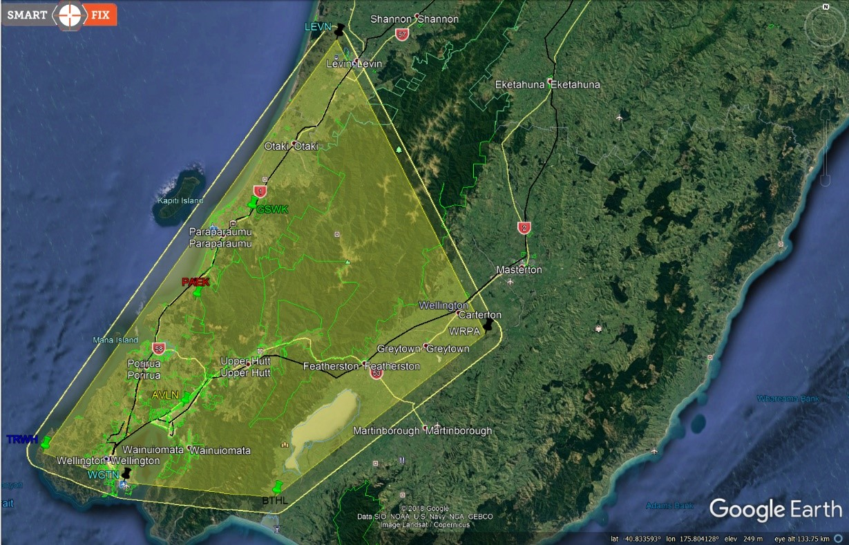 GPS Glonass Fixed Cells - Wellignton Region - Map