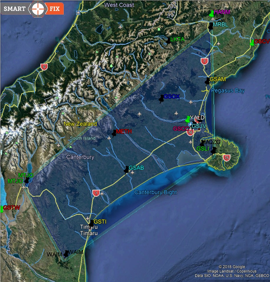 South Island Beidou Network - Map